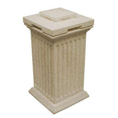 Savannah 16 in. x 16 in. x 38 in. Polyethylene Column Waste and Storage Bin in Sandstone