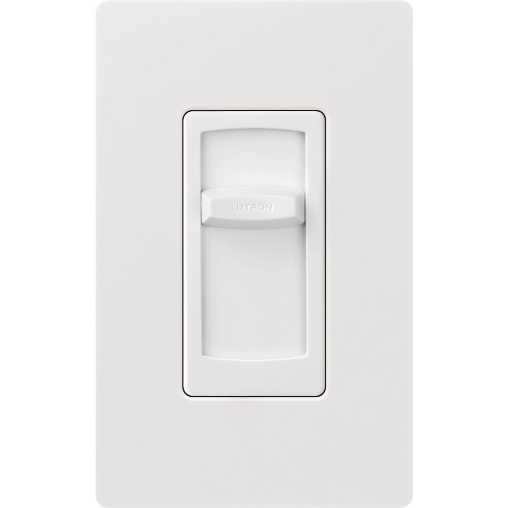 Lutron Skylark Contour Slide C L Dimmer Switch for Dimmable LED,  Incandescent & Halogen Bulbs, Single-Pole, w/Wallplate, White