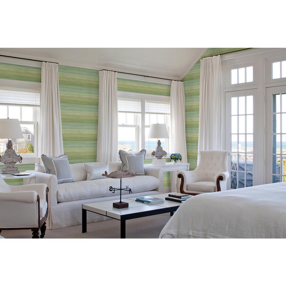 Chesapeake Ombrello Green Stripe Wallpaper Sample Part 98