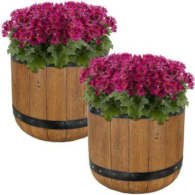 Vineyard 15 in. Fiber Clay Classic Barrel Durable Indoor/Outdoor Planter Flower Pot (Set of 2)