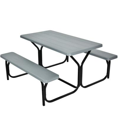 Gray Rectangle Metal Picnic Table Bench Set with Extension