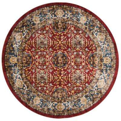 Bijar Red/Royal 6 ft. 7 in. x 6 ft. 7 in. Round Area Rug