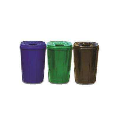 55 Gal. Recycling Bin Green, Black, Blue Compo Pack