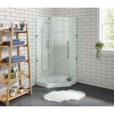Voltaire 36 in. x 36 in. Acrylic White, Single-Threshold, Center Drain, Neo-angle Shower Base