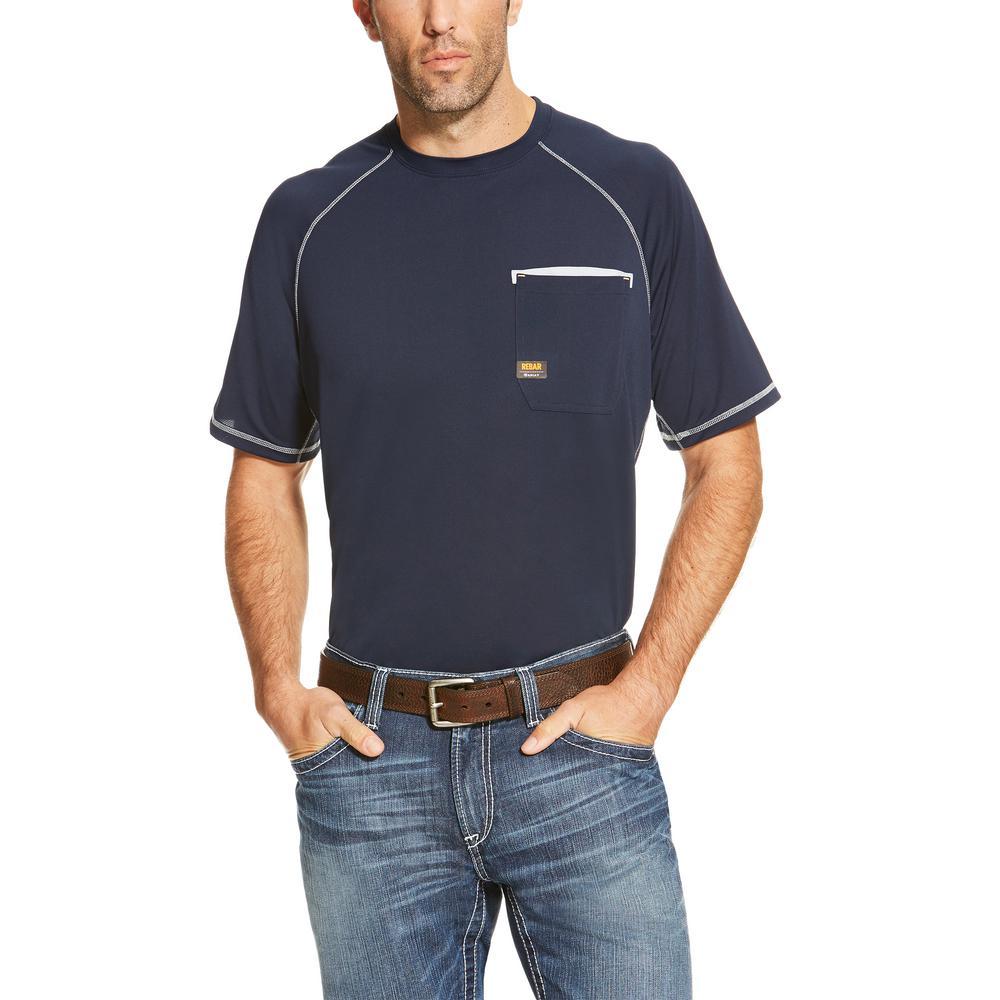 Ariat Mens Size 2x Large Navy Rebar Sunstopper Short Sleeve Work