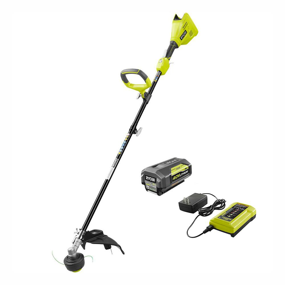 RYOBI 40-Volt Lithium-Ion Brushless Electric Cordless Attachment Capable String Trimmer - 3.0 Ah Battery and Charger Included