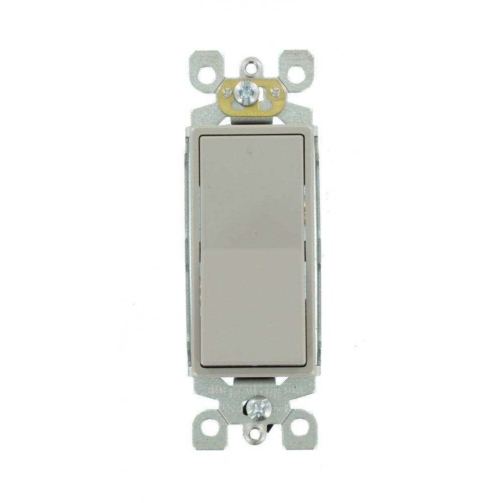 Decora 15 Amp 3-Way Rocker Switch, Gray (5-Pack)