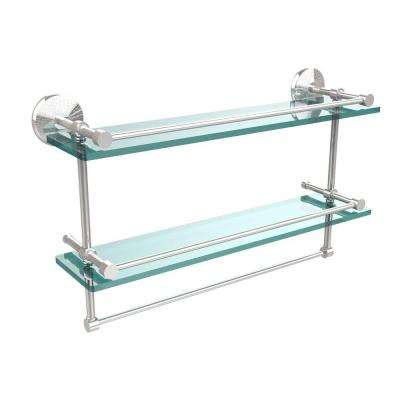 22 in. L  x 12 in. H  x 5 in. W 2-Tier Clear Glass Bathroom Shelf with Towel Bar in Polished Chrome