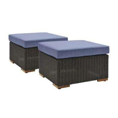 New Boston 2-Piece Wicker Outdoor Ottoman with Sunbrella Spectrum Denim Cushion