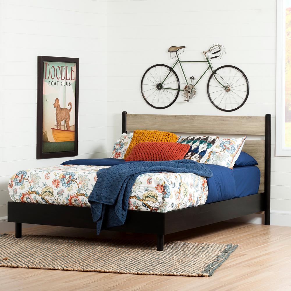 Morice Ebony & Rustic Oak Queen Platform Bed