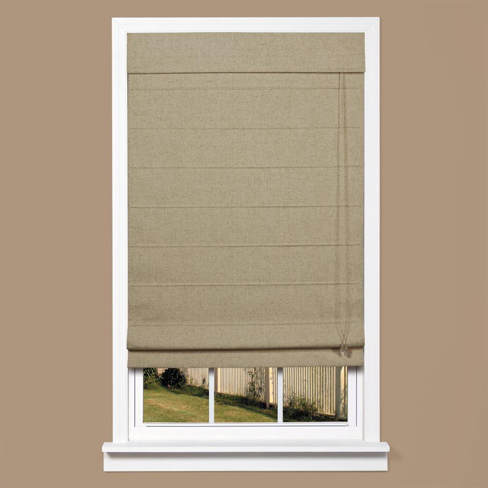 homeBASICS Brown Linen-Look Thermal Blackout Fabric Roman Shade - 39 in. W x 64 in. L