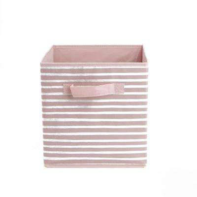 10.5 in. x 11.19 in. Pink Foldable Storage Bin with Handles