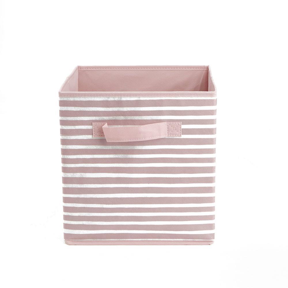 11 in. D x 11 in. H x 11 in. W Pink Fabric Cube Storage Bin