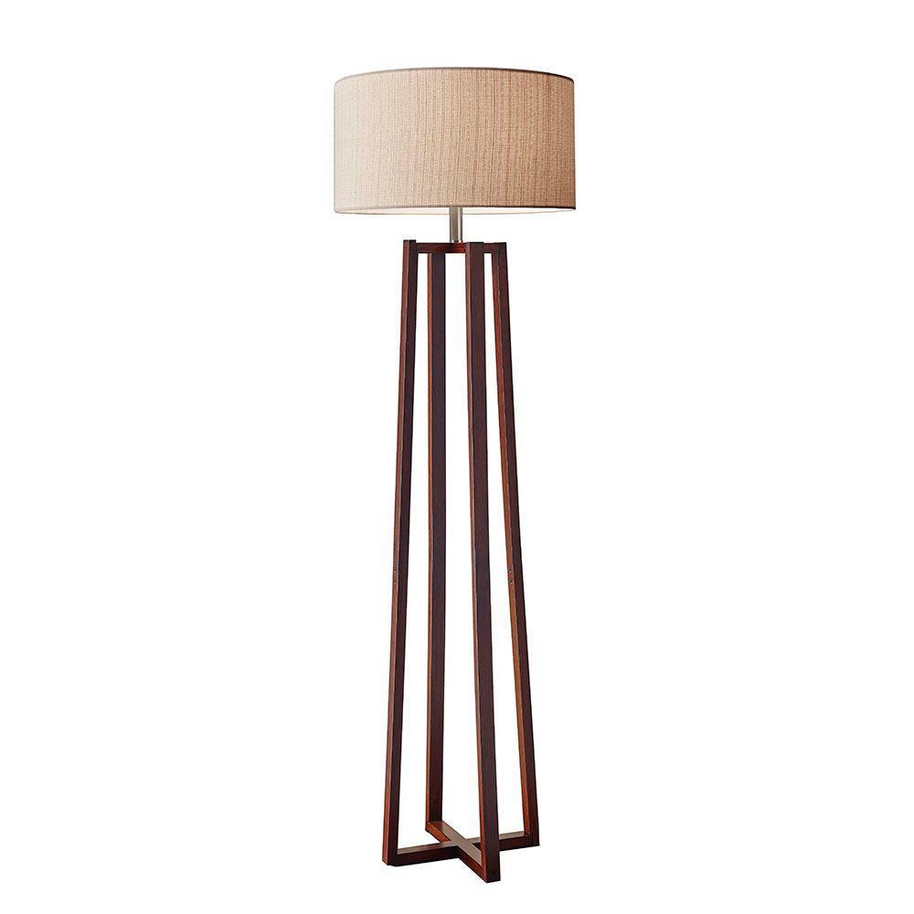 Quinn 60 in. Walnut Floor Lamp