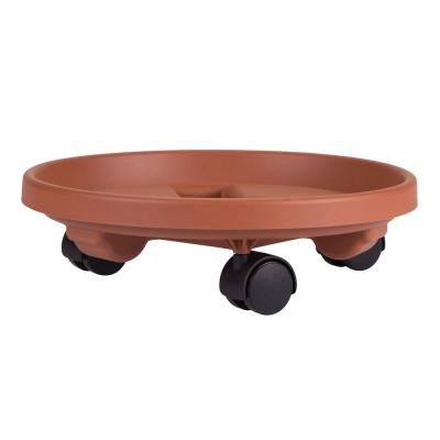 Caddy Round 14 in. Terra Cotta Plastic Plant Stand Caddy with Wheels