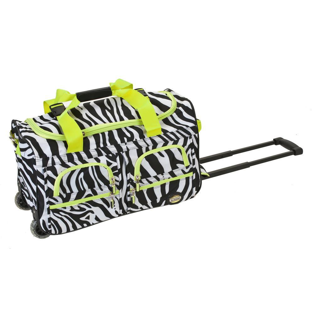 Rockland Rockland Voyage 22 in. Rolling Duffle Bag, Lime zebra PRD322-LIMEZEBR