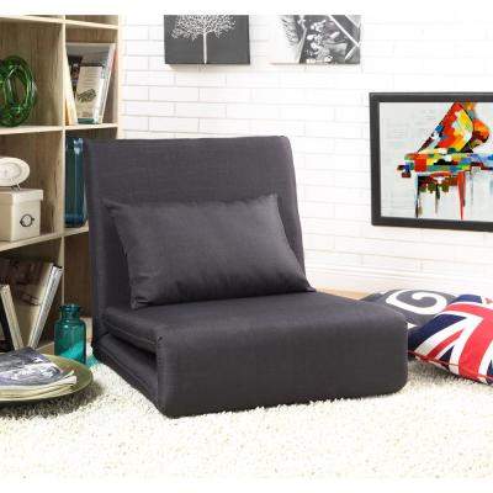 Black Relaxie Linen Convertible Flip Chair Floor Sleeper