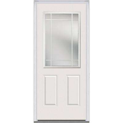 36 in. x 80 in. Internal Grilles Right-Hand Inswing 1/2-Lite Clear 2-Panel Painted Fiberglass Smooth Prehung Front Door