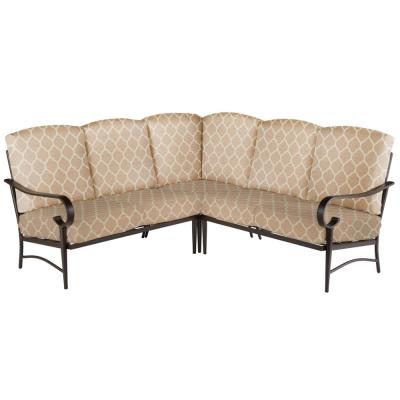 Oak Cliff 3-Piece Brown Steel Outdoor Patio Sectional Sofa with CushionGuard Toffee Trellis Tan Cushions