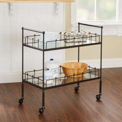 Fitz 2-Tier Hammered Bronze Serving Cart