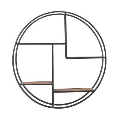32 in. Dia x 7 in. D Round Wood and Black Metal Wall-Mount Bookshelf