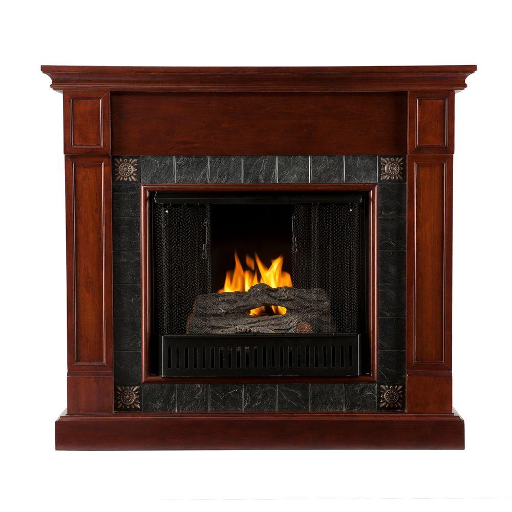 Southern Enterprises Lungarno 45 in. Gel Fuel Fireplace in Cherry with Faux Slate-DISCONTINUED