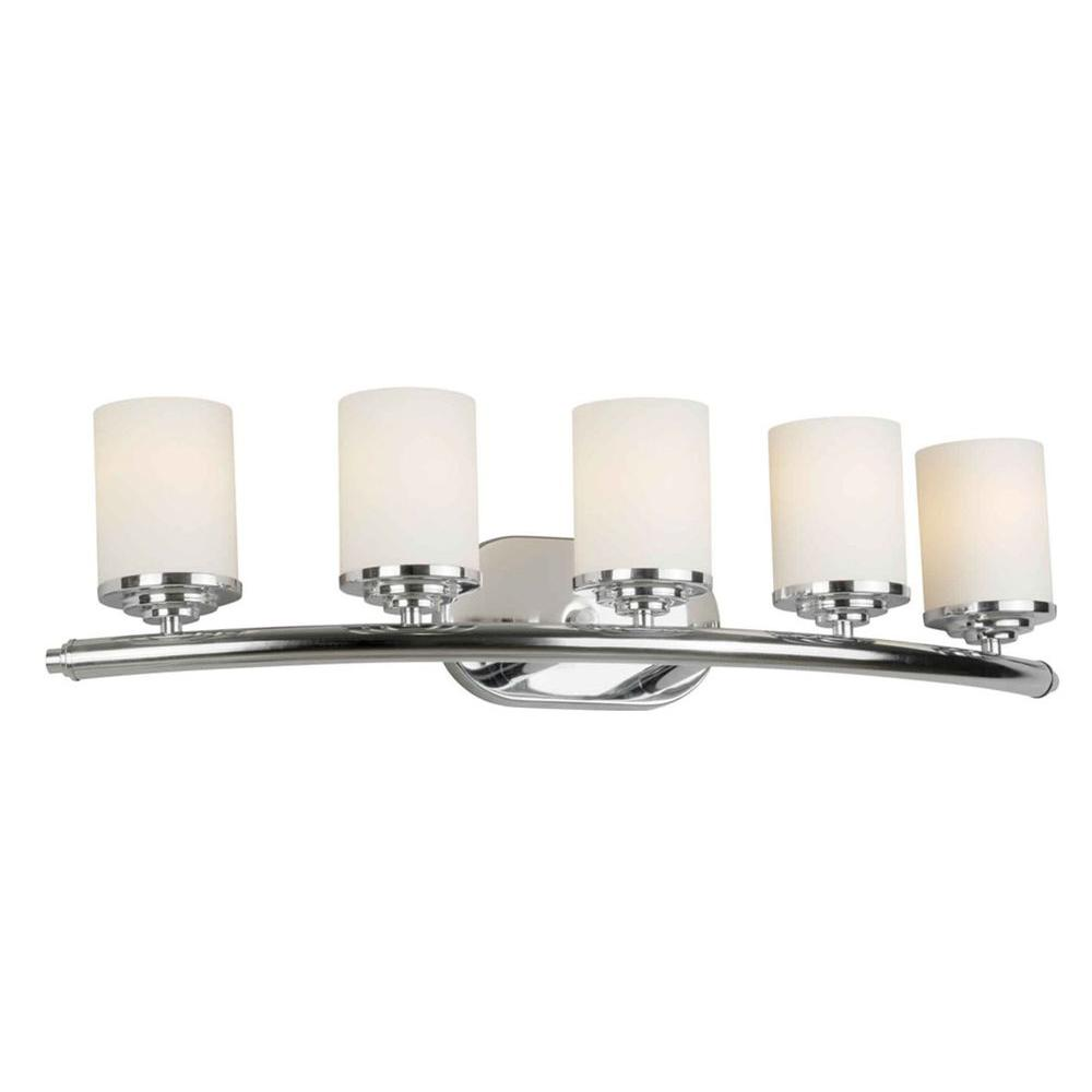 bathroom vanity lights chrome finish. Talista 5 Light Chrome Bath Vanity With Satin Opal Glass Shade