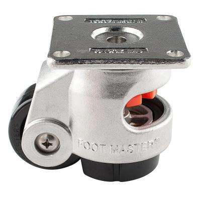 2 in. Nylon Cast Stainless Steel Wheel Top Plate Leveling Caster with Load Rating 550 lbs.