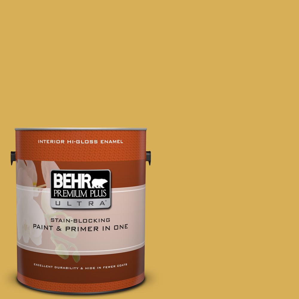 1 gal. #370D-6 Golden Cricket Hi-Gloss Enamel Interior Paint