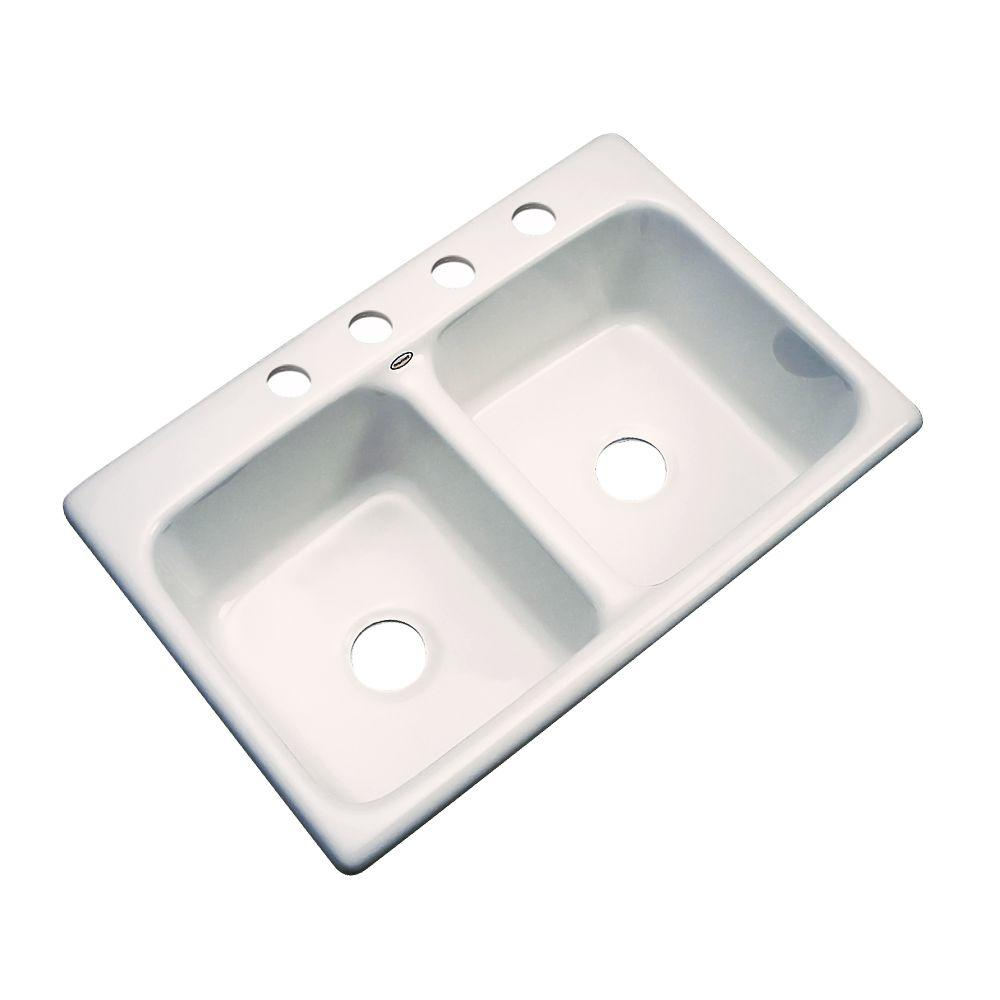 Thermocast Newport Drop-In Acrylic 33 in. 4-Hole Double Bowl Kitchen Sink in Bone