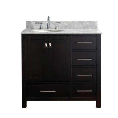 Caroline Avenue 36 in. W Bath Vanity in Espresso with Marble Vanity Top in White with Round Basin
