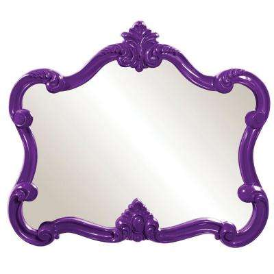 28 in. x 32 in. Glossy Purple Whimsical Framed Mirror