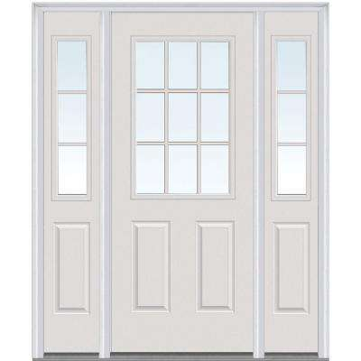 60 in. x 80 in. Internal Grilles Left-Hand 1/2-Lite Clear Painted Fiberglass Smooth Prehung Front Door with Sidelites