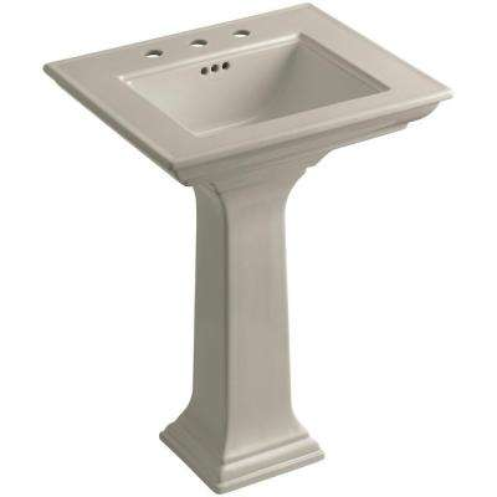 Memoirs Stately Ceramic Pedestal Bathroom Sink Combo in Sandbar with Overflow Drain