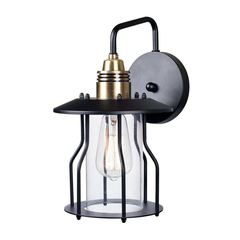 Trevor 1-Light Bronze Outdoor Wall Mount Lantern