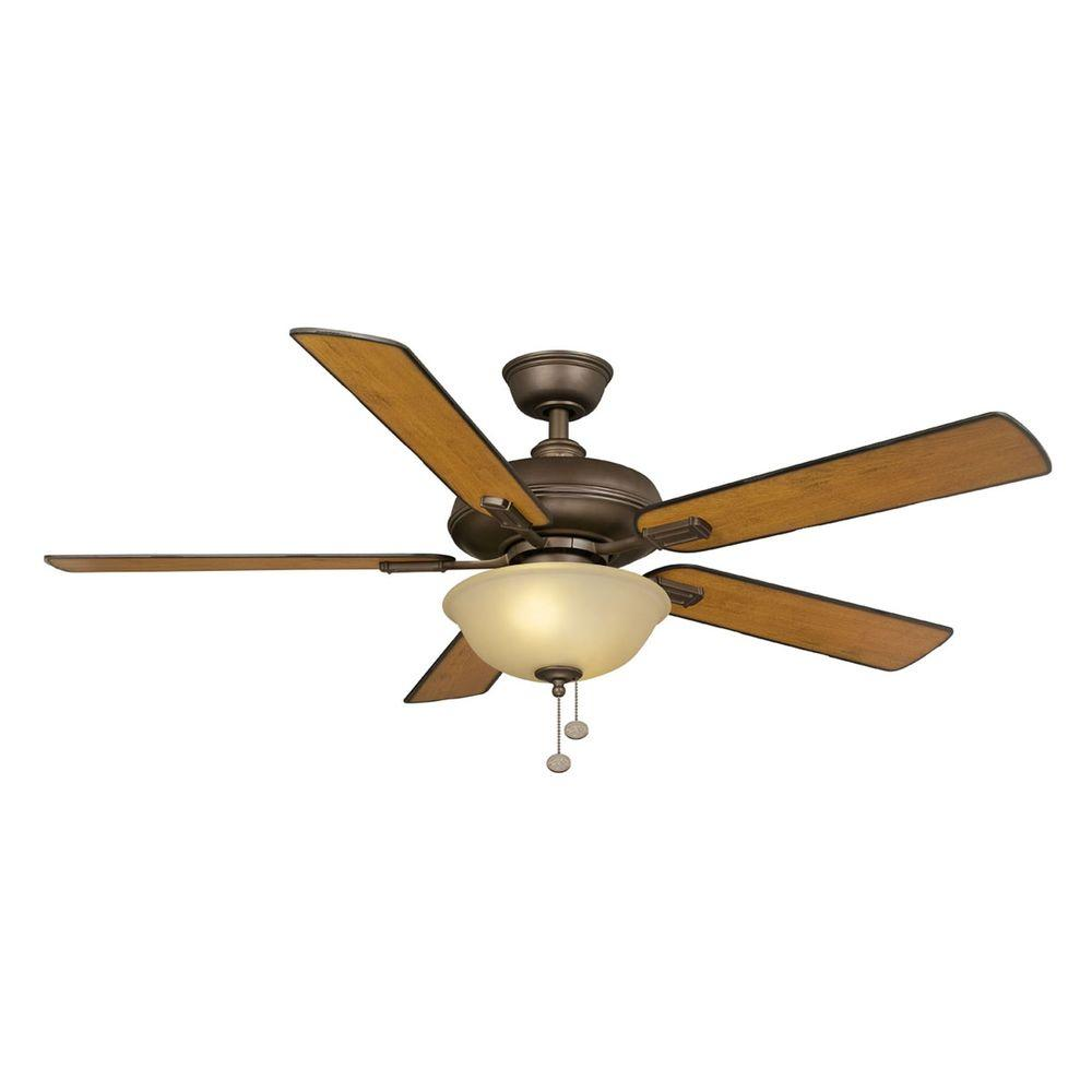 Hampton Bay Larson 52 in. Indoor Oil-Rubbed Bronze Ceiling Fan with Light  Kit