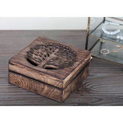 Polished Wooden Boxes with Tree Carvings (Set of 3)