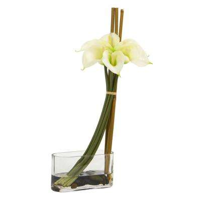 Indoor 18 in. Calla Lily with Bamboo Artificial Arrangement