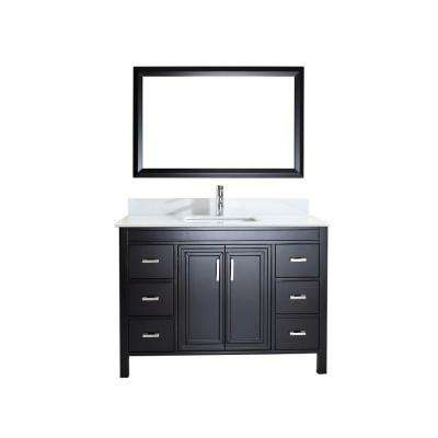Dawlish 48 in. W x 22 in. D Vanity in Espresso with Solid Surface Vanity Top in White with White Basin and Mirror