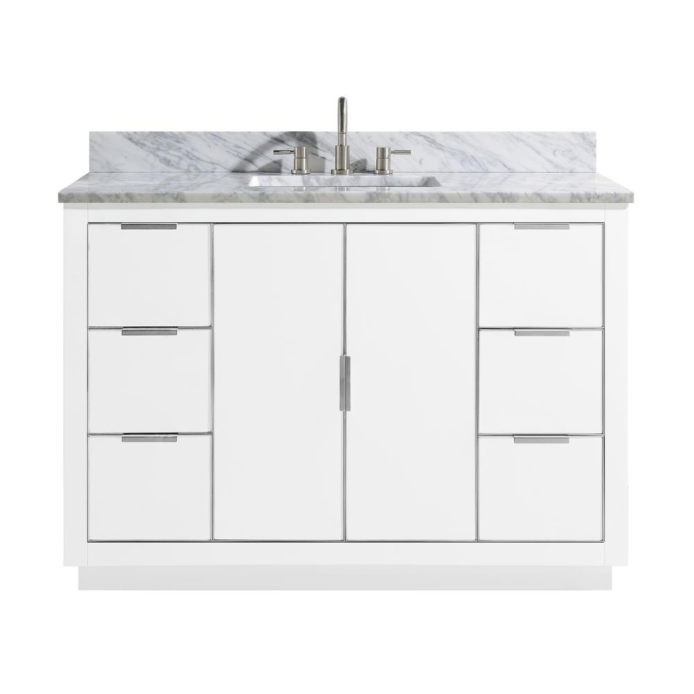 Avanity Austen 49 in. W x 22 in. D Bath Vanity in White/Silver Trim with Marble Vanity Top in Carrara White with White Basin