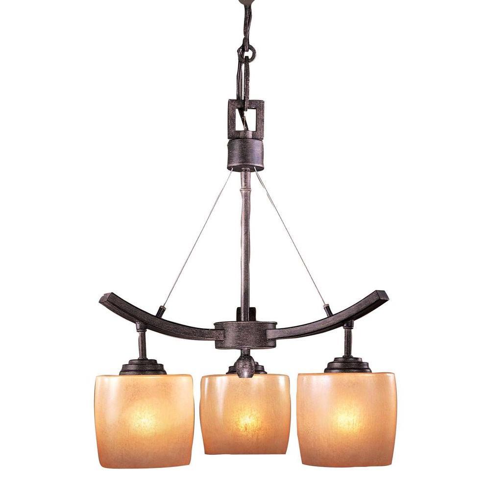 Raiden 3-Light Iron Oxide Mini Chandelier