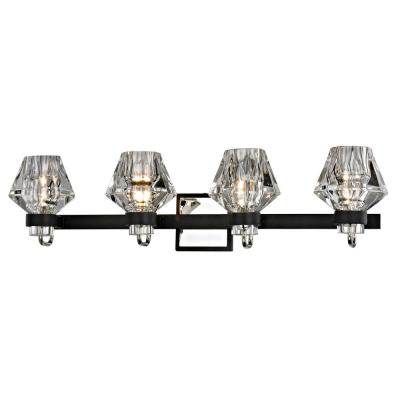 Faction 4-Light Forged Iron and Polished Nickel Bath Light with Clear Pressed Glass Shade