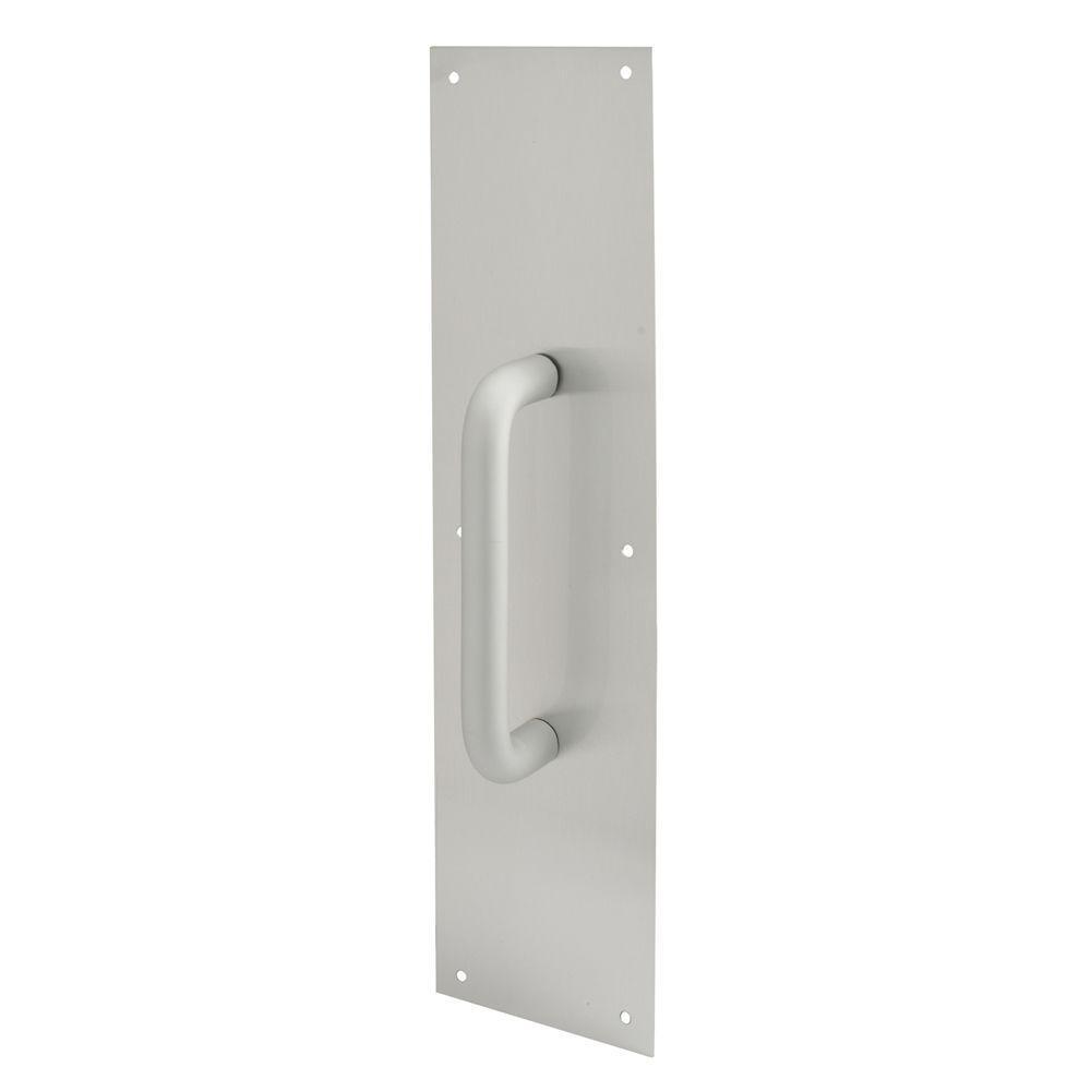 Prime-Line 4 in. x 16 in. Satin Aluminum Round Handle Door Pull Plate