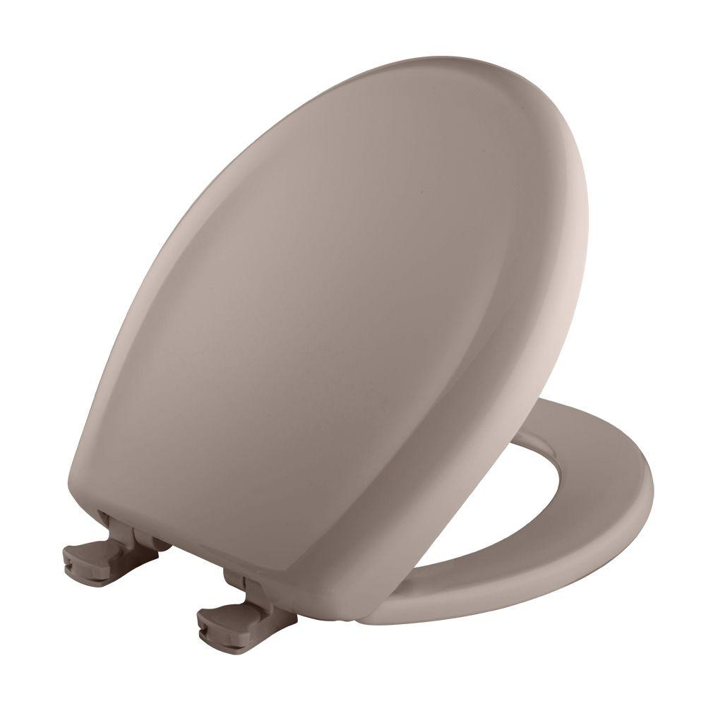 Slow Close STA-TITE Round Closed Front Toilet Seat in Light Mink