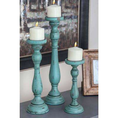 New Traditional Teal Wooden Candle Holders (Set of 3)