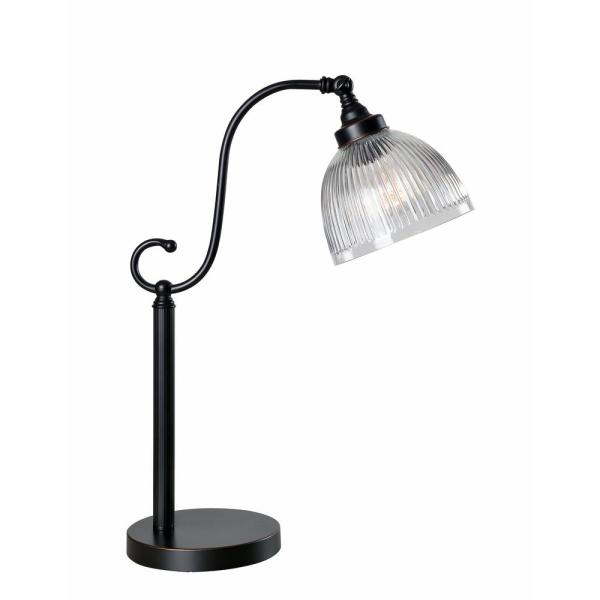 Embassy 22 in. Bronze Desk Lamp with Clear Ribbed Glass Shade