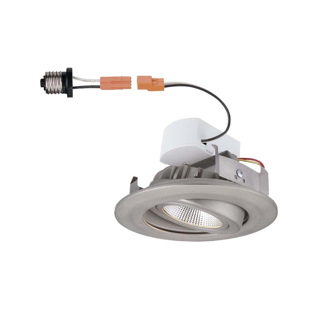 Commercial electric recessed lighting lighting the home depot 4 in brushed nickel recessed led gimbal trim aloadofball