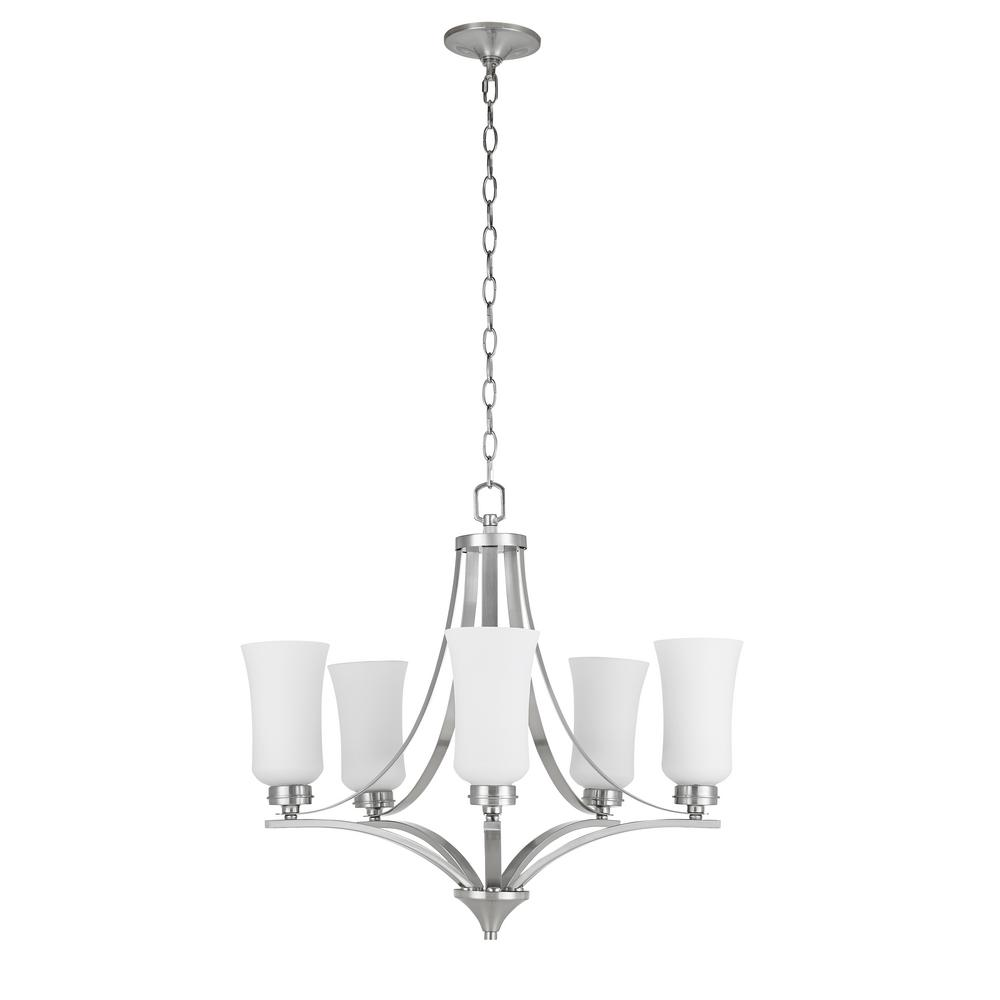 Catalina Lighting 5 Light Brushed Nickel Chandelier With Tulip Shaped Frosted Glass Shades