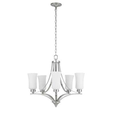 5-Light Brushed Nickel Chandelier with Tulip Shaped Frosted Glass Shades