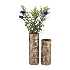 Banded Texture 13 in. and 17 in. Earthenware Decorative Vases in Bronze (Set of 2)